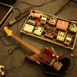 Lee modified Jazzmaster#2 + pedalboard mar18 2013